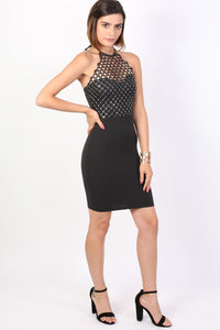 Caged Effect Sequin Detail Halterneck Bodycon Mini Dress in Black 3