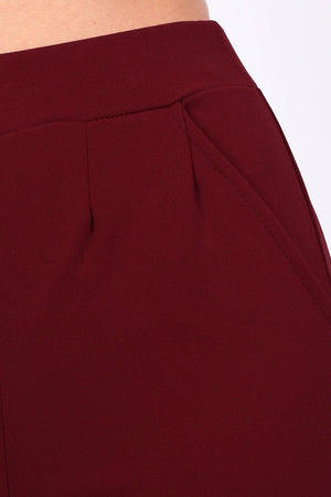 Plain Straight Leg Trousers in Wine Red 2