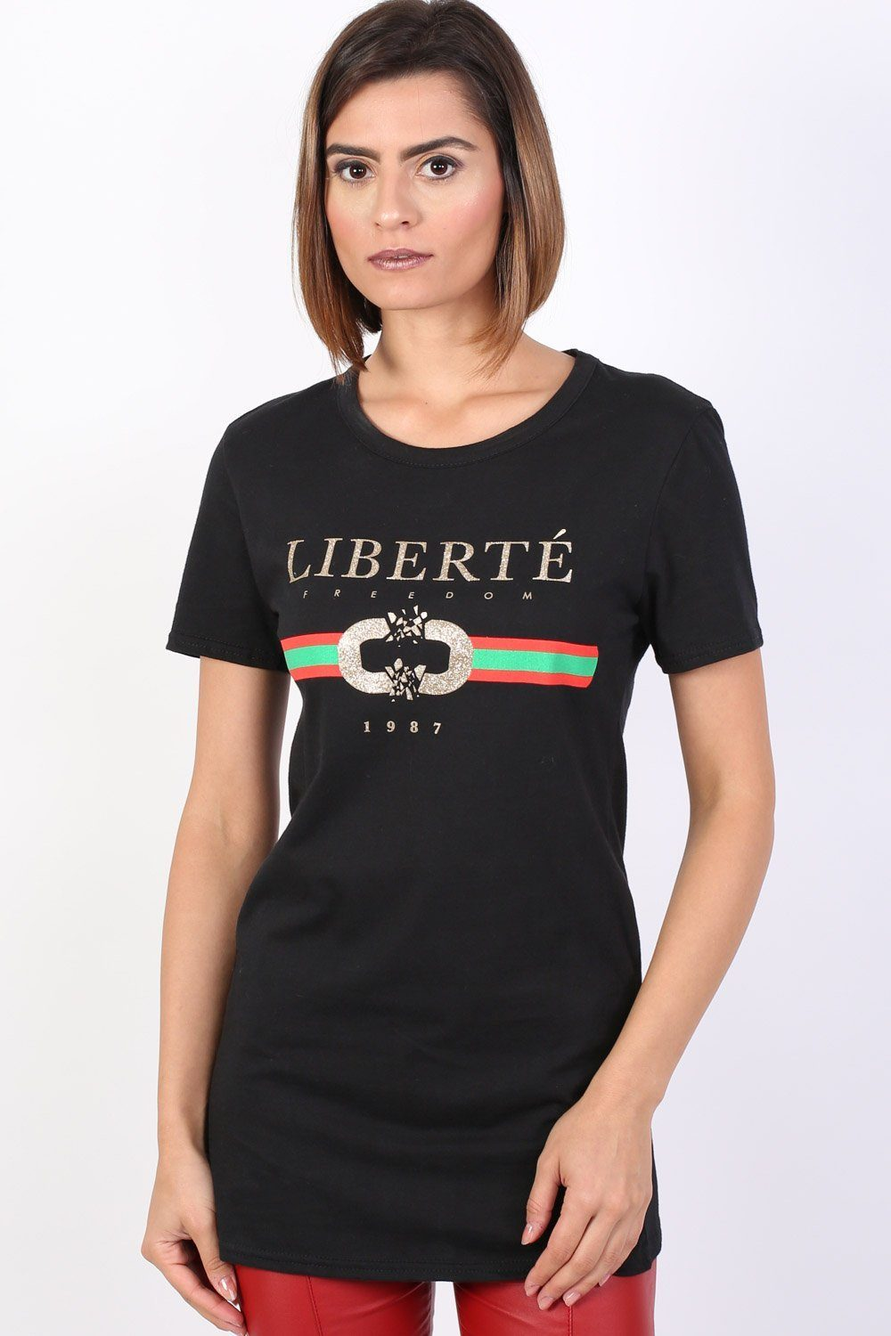 Liberte Print Graphic T-Shirt in Black 0