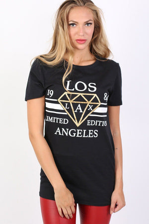 Los Angeles Print Graphic T-Shirt in Black 0
