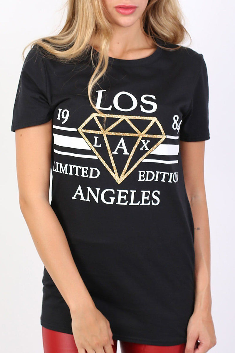 Los Angeles Print Graphic T-Shirt in Black 4