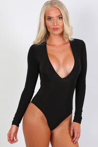 Slinky Plunge V Neck Long Sleeve Bodysuit in Black 0