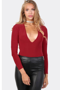 Slinky Plunge V Neck Long Sleeve Bodysuit in Red 1