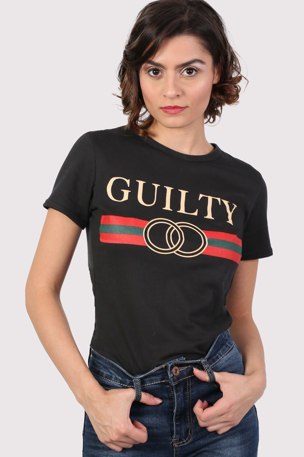 Guilty Graphic Print T-Shirt in Black 0