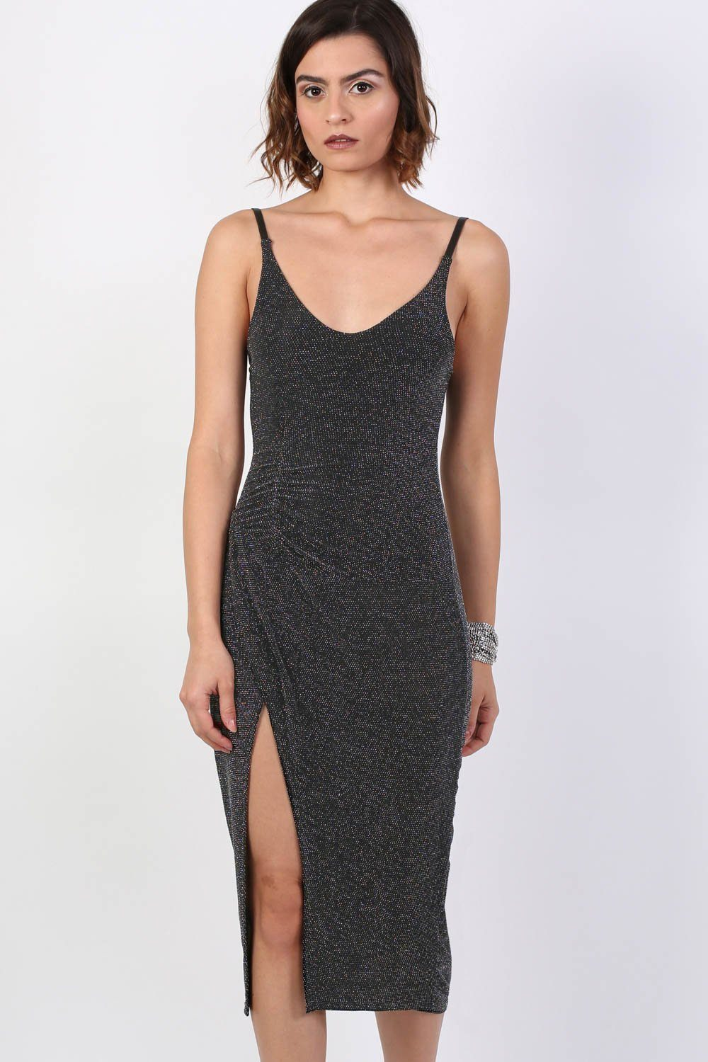 Strappy Glitter Lurex Front Split Bodycon Midi Dress in Black 0