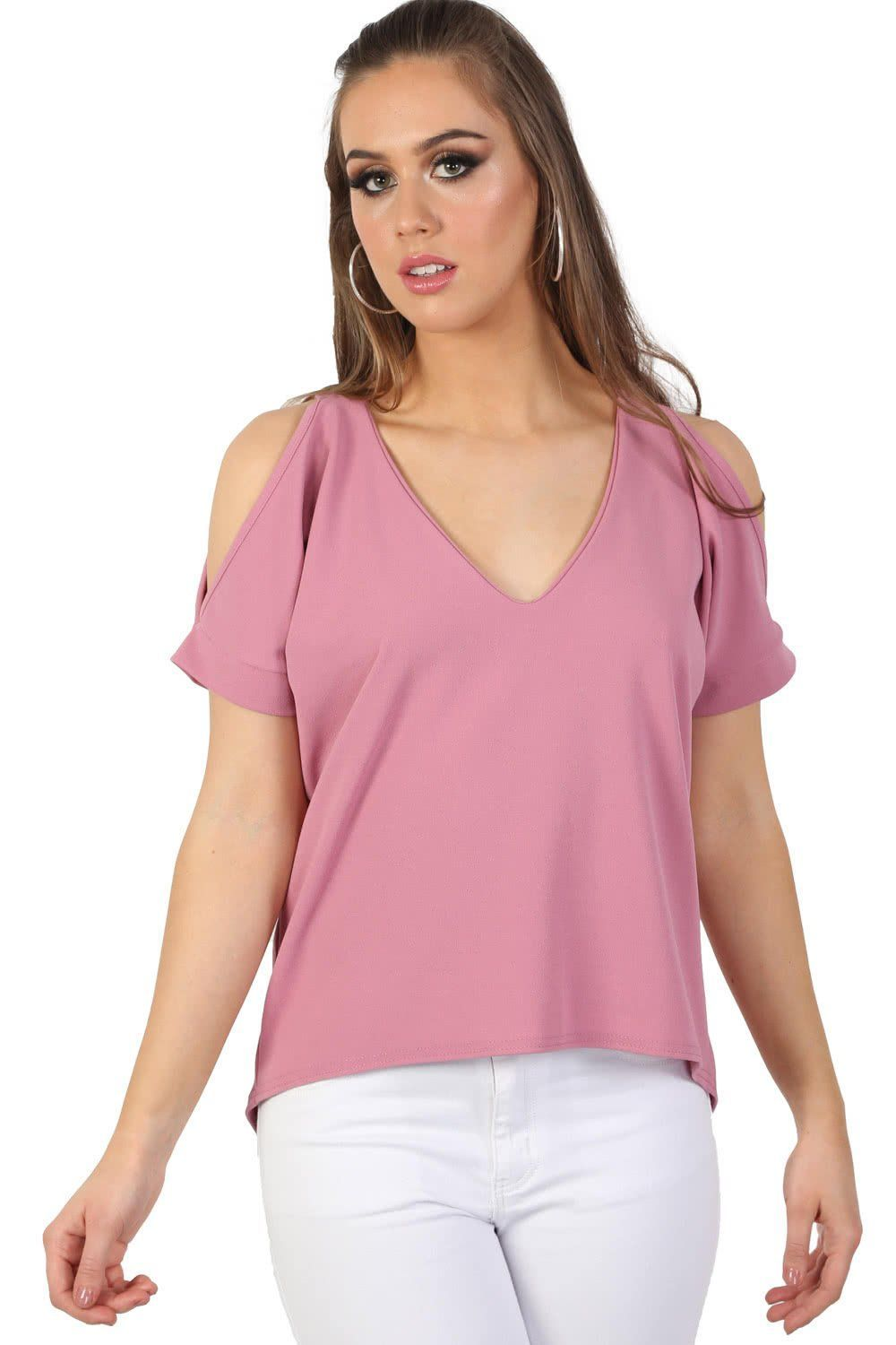 Plain High Low Hem Cold Shoulder Top in Dusty Pink 0