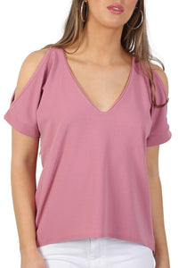 Plain High Low Hem Cold Shoulder Top in Dusty Pink 4
