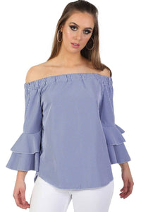 Bardot Frill Detail Long Sleeve High Low Hem Gingham Check Top in Blue 0