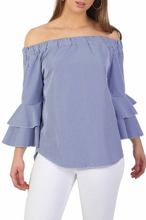 Bardot Frill Detail Long Sleeve High Low Hem Gingham Check Top in Blue 3