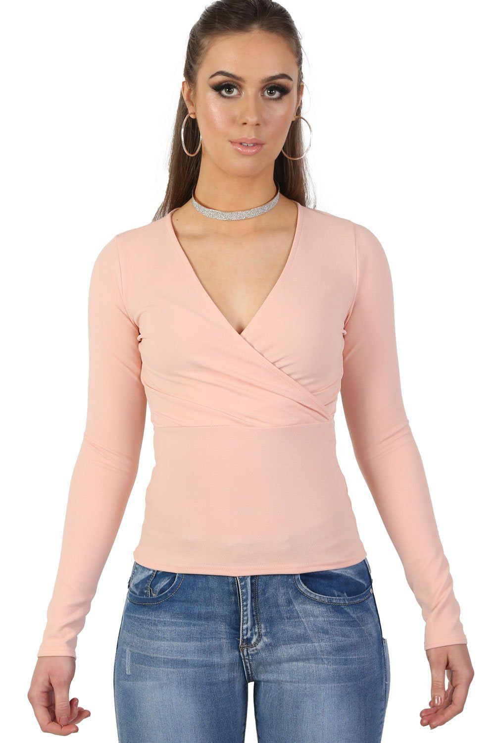 Plain Wrap Front V Neck Long Sleeve Top in Pale Pink 0