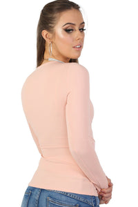 Plain Wrap Front V Neck Long Sleeve Top in Pale Pink 1