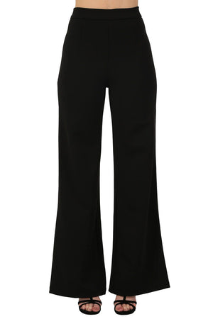 Plain High Waisted Wide Leg Trousers in Black 1