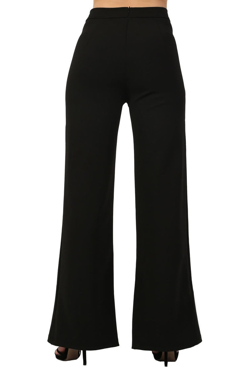 Plain High Waisted Wide Leg Trousers in Black 2