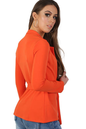 Plain Long Sleeve Wrap Belted Blazer in Bright Orange 1
