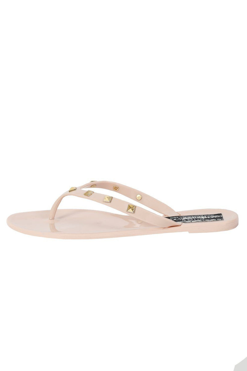 Flat Stud Detail Jelly Sandals in Nude 3