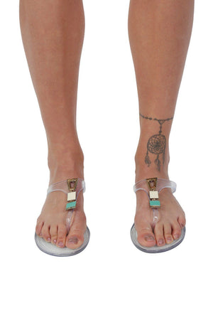 Flat Inca Detail Toe Post Jelly Sandals in Transparent 1