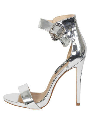 Metallic High Heel Ankle Strap Sandals in Silver 4