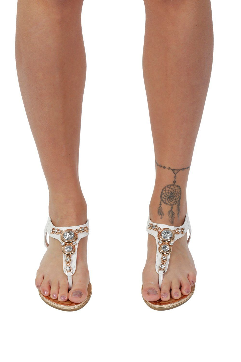 Diamante Jewel Embellished Toe Post Flat Sandals in White 0