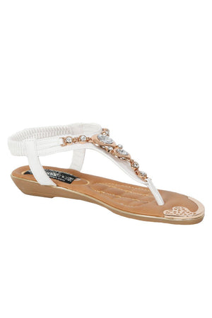 Diamante Jewel Embellished Toe Post Flat Sandals in White 2