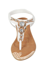Diamante Jewel Embellished Toe Post Flat Sandals in White 3
