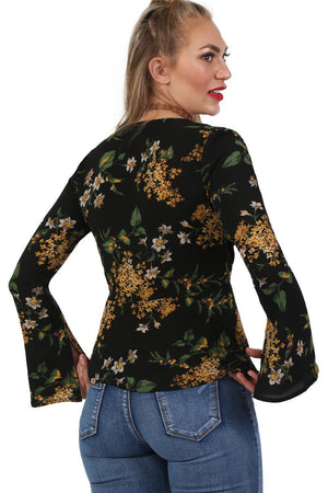 Fluted Flower Print Wrap Front Peplum Frill Top in Black 4