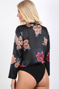 Collared Satin Floral Print Wrap Front Long Sleeve Bodysuit in Black 1