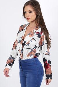 Collared Satin Floral Print Wrap Front Long Sleeve Bodysuit in White 2