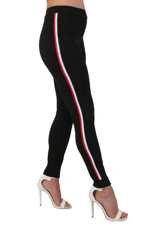 Side Stripe Detail Straight Leg Crepe Jogger Bottoms in Black 0