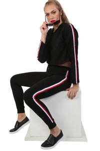 Side Stripe Detail Straight Leg Crepe Jogger Bottoms in Black 1