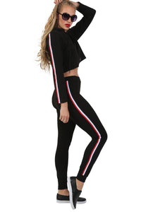 Side Stripe Detail Straight Leg Crepe Jogger Bottoms in Black 2