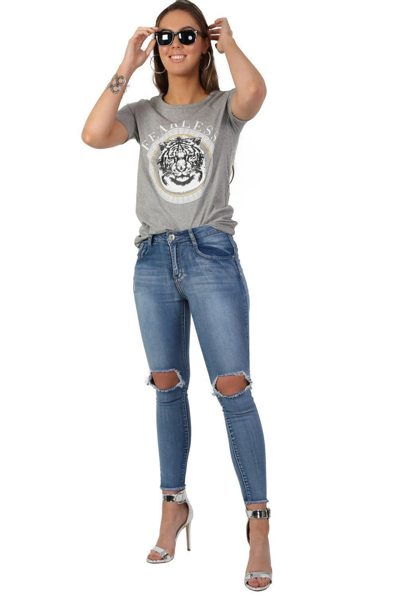 Fearless Slogan Print Tiger Motif Short Sleeve T-Shirt in Grey 3