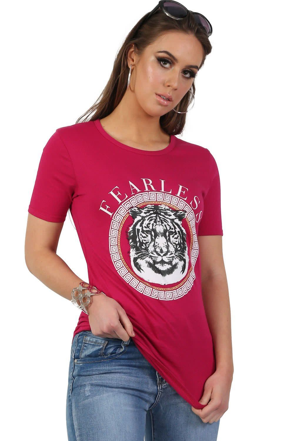 Fearless Slogan Print Tiger Motif Short Sleeve T-Shirt in Magenta Pink 0