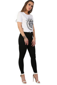 Fearless Slogan Print Tiger Motif Short Sleeve T-Shirt in White 3