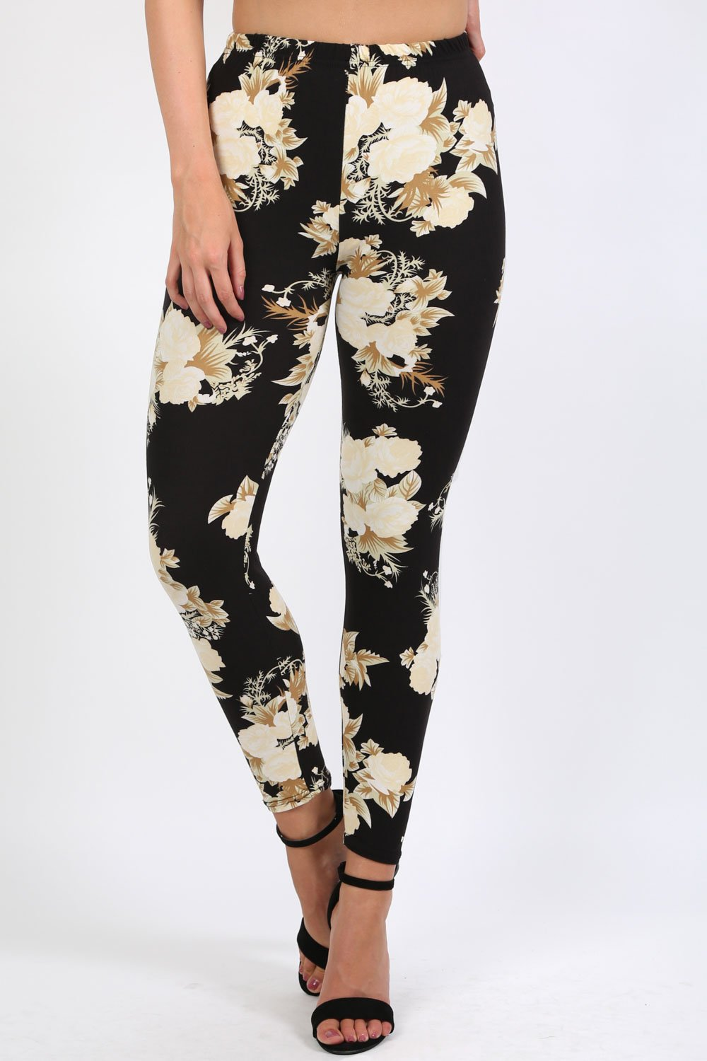 Floral Print Design Leggings in Black 0