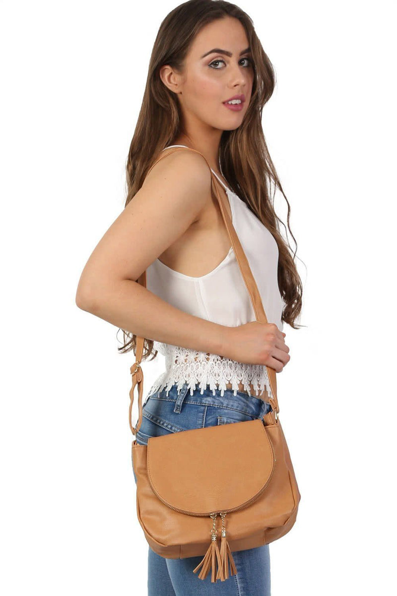 Foldover Flap Faux Leather Shoulder Bag in Tan Brown 0