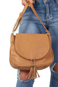Foldover Flap Faux Leather Shoulder Bag in Tan Brown 1
