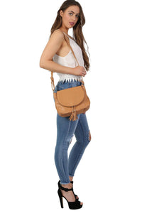 Foldover Flap Faux Leather Shoulder Bag in Tan Brown 2
