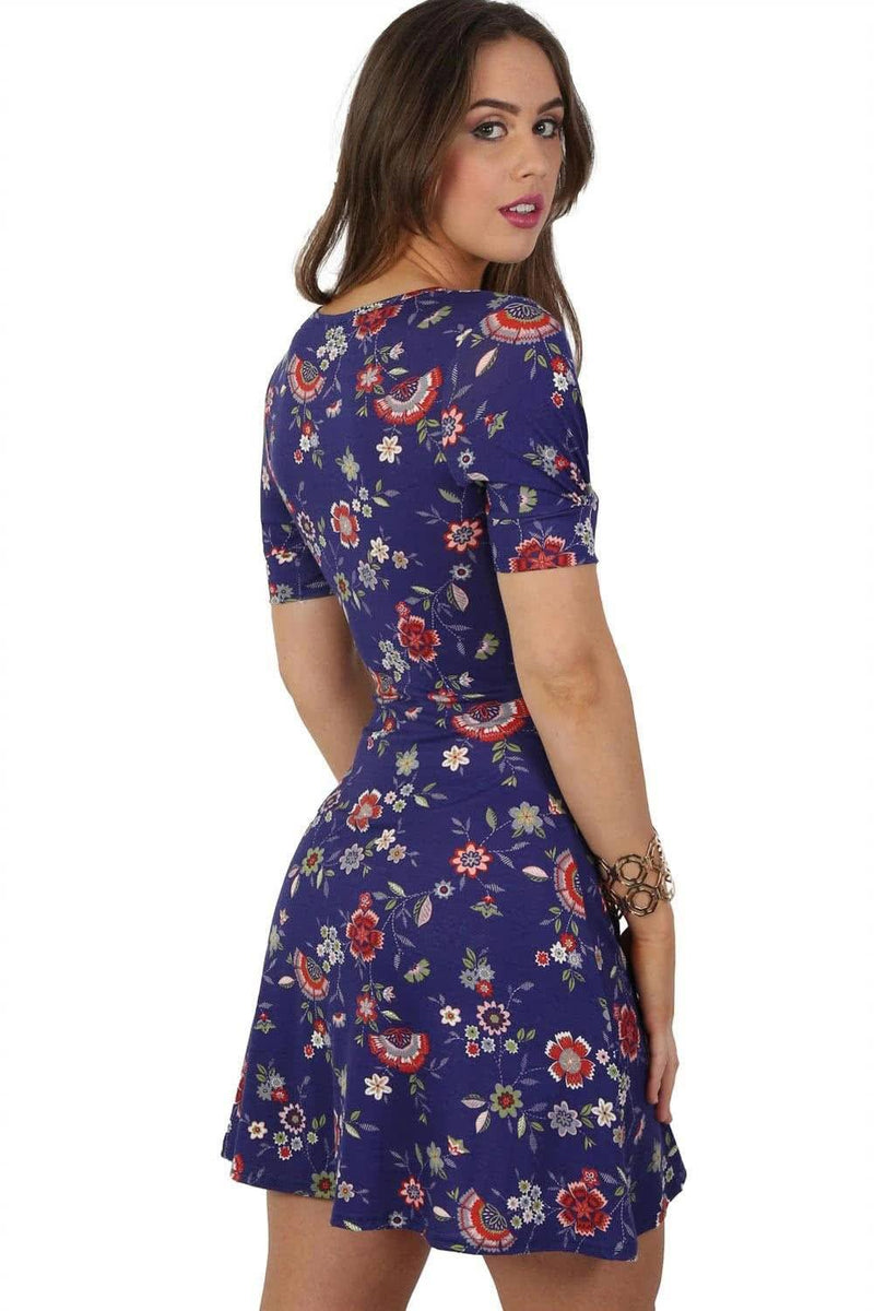 Cap Sleeve Floral Print V Neck Mini Tea Dress in Blue 2