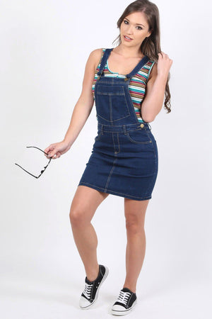 Denim Dungaree Pinafore Mini Dress in Dark Denim 2
