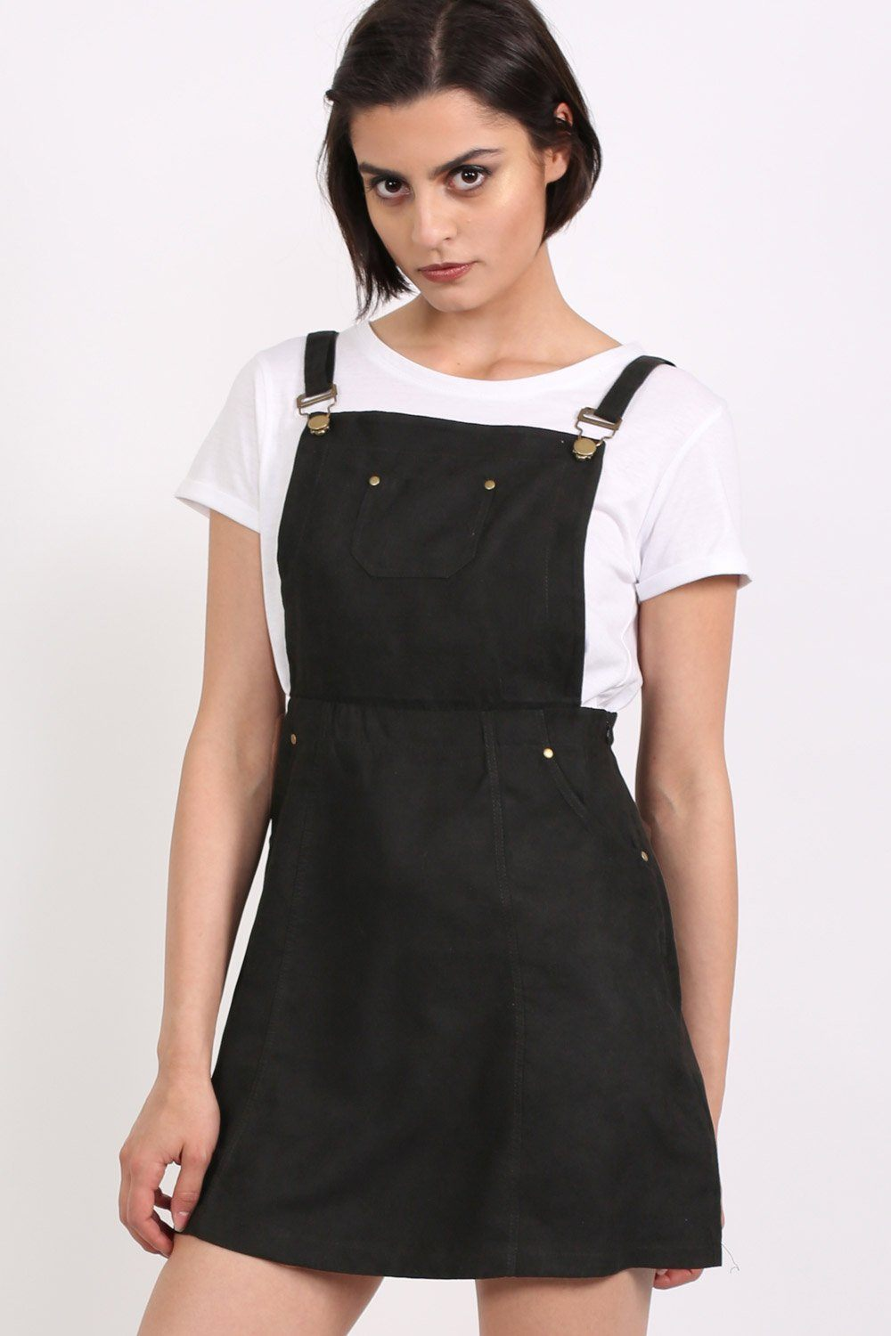 Faux Suede Dungaree Dress in Black 0