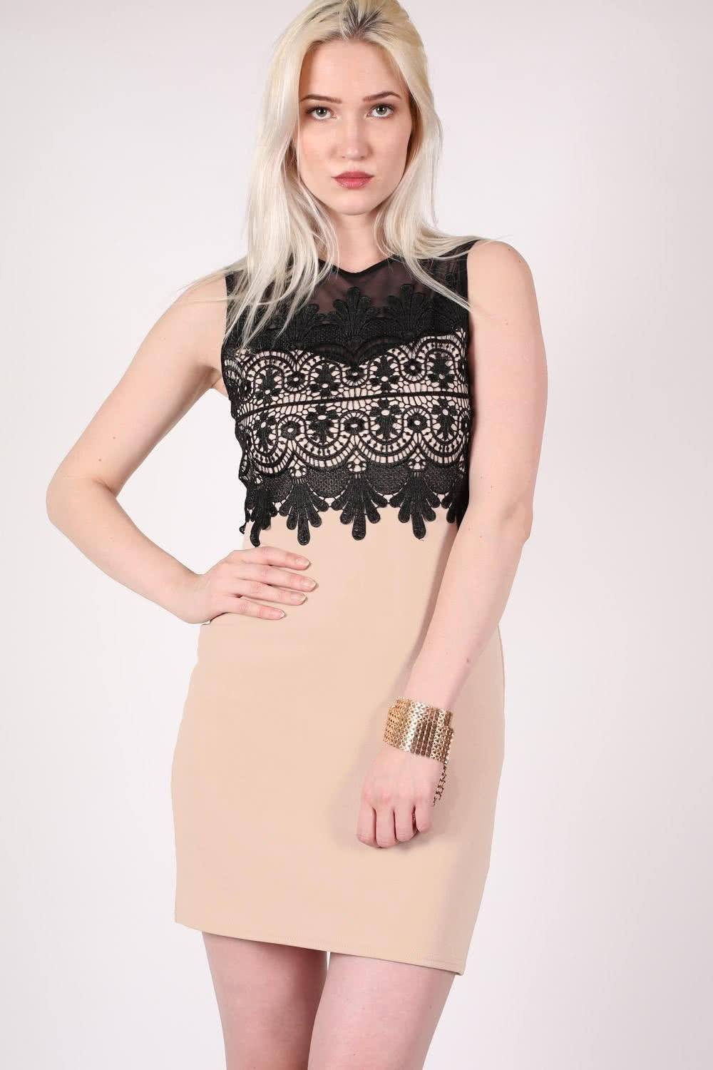 Lace And Mesh Trim Sleeveless Bodycon Dress in Stone 0
