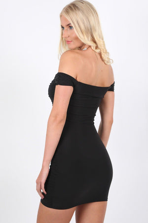 Slinky Ruched Lace Up Front Bardot Bodycon Mini Dress in Black 2