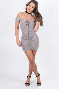 Slinky Ruched Lace Up Front Bardot Bodycon Mini Dress in Smokey Taupe 2