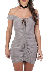 Slinky Ruched Lace Up Front Bardot Bodycon Mini Dress in Smokey Taupe 3