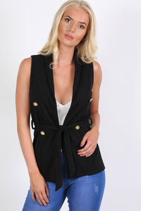 Gold Button Detail Open Front Belted Sleeveless Blazer Jacket in Black 0