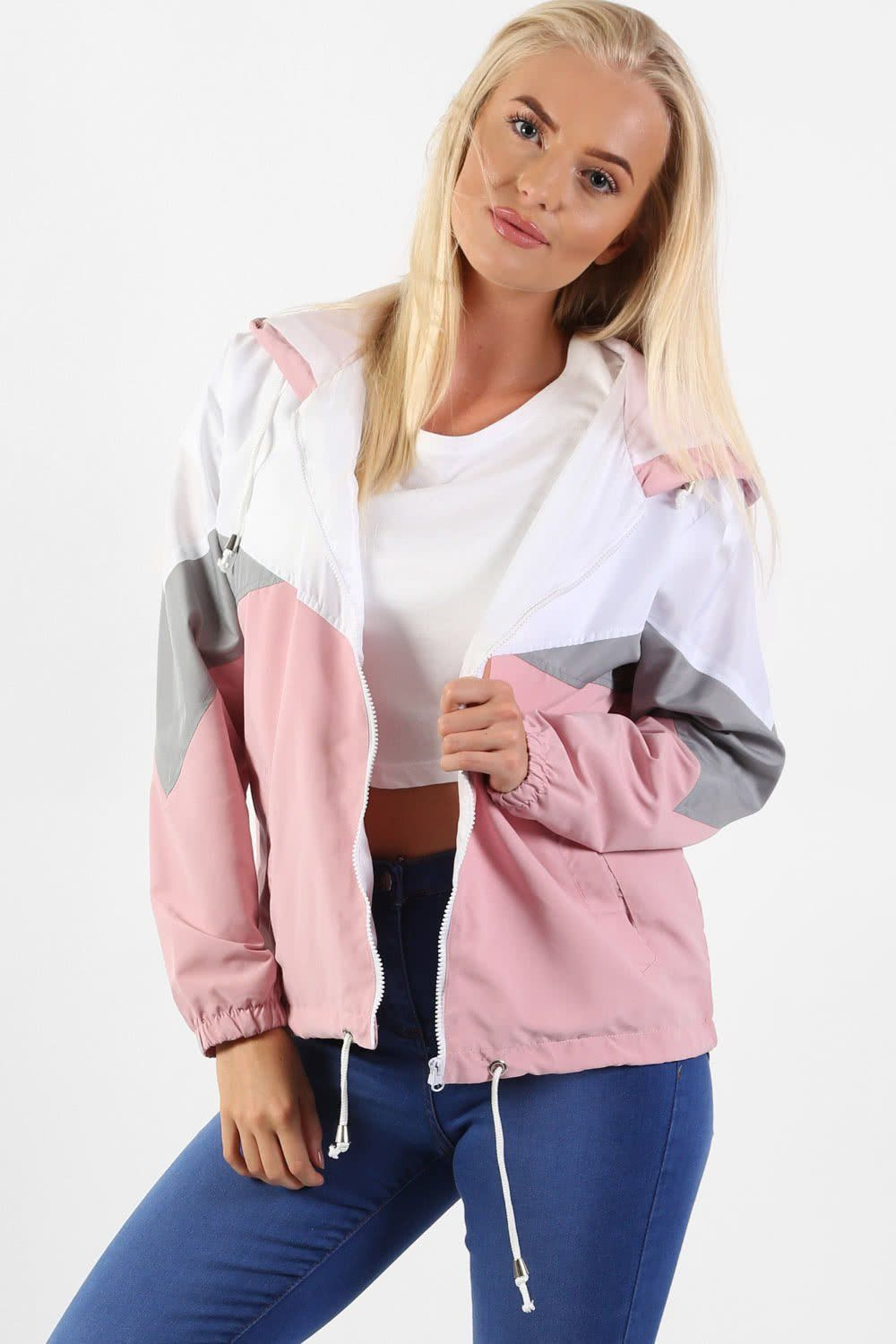 Hooded Lightweight Windbreaker Festival Jacket in Dusty Pink 0