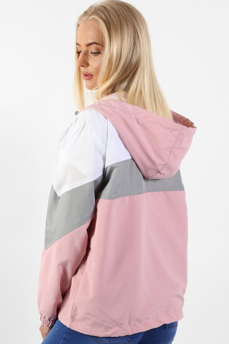 Hooded Lightweight Windbreaker Festival Jacket in Dusty Pink 2