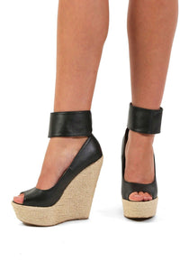 Open Toe Wide Ankle Strap Wedge Sandals in Black 1