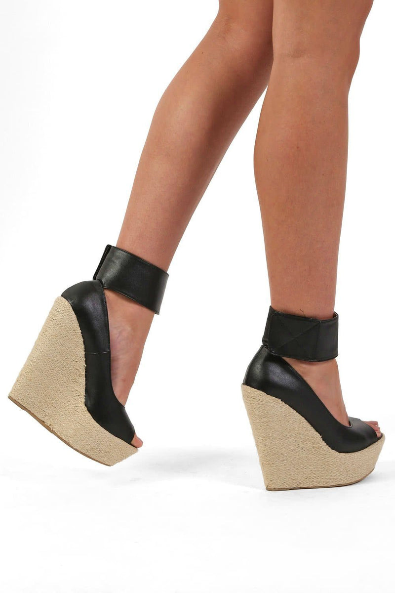 Open Toe Wide Ankle Strap Wedge Sandals in Black 2