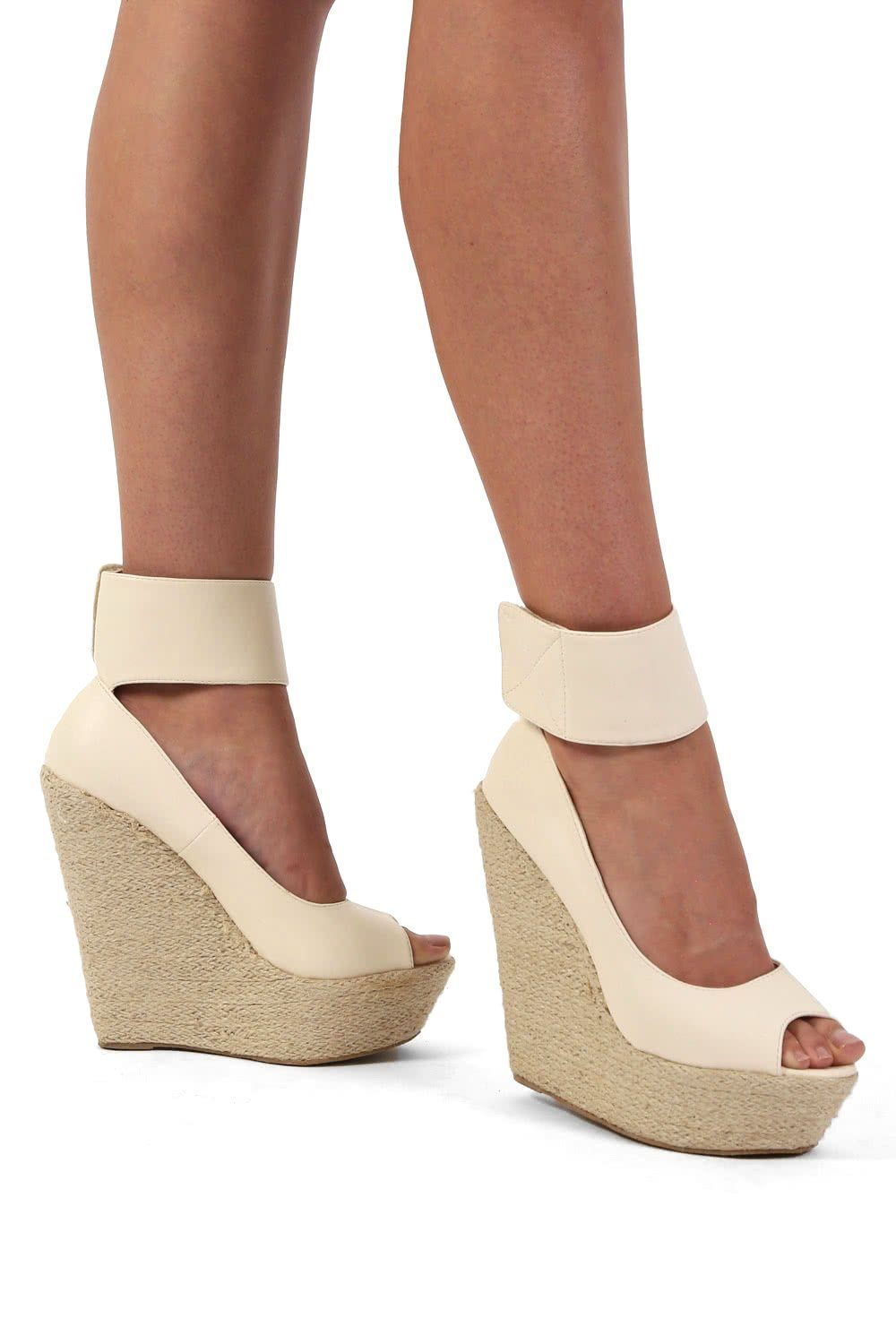 Open Toe Wide Ankle Strap Wedge Sandals in Cream 0